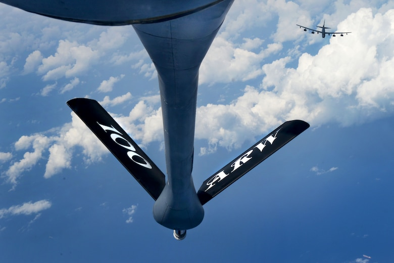 A B-52 Stratofortress from Barksdale Air Force Base, La., approaches a KC-135 Stratotanker from RAF Mildenhall, England, above the Mediterranean Sea, Sept. 27, 2017. The B-52 is a long-range, heavy bomber that can perform a variety of missions. The B-52s conduct routine deployments that support the United States' mission to maintain ready and postured forces on land, in the air and at sea. (U.S. Air Force photo by Senior Airman Tenley Long)