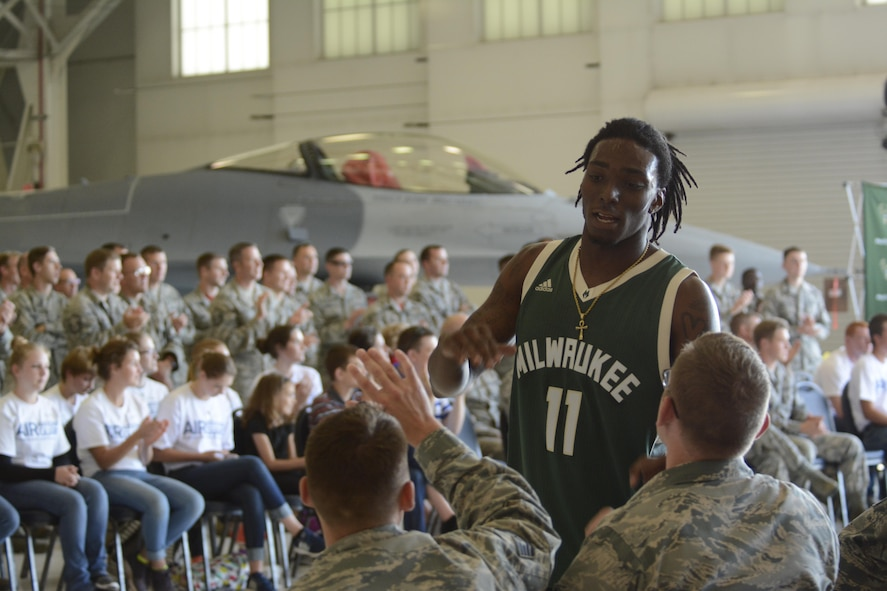 Airmen of the 115th Fighter Wing and their families were able to take a break together, at the end of the regularly scheduled drill day, Sept. 9 at Truax Field, Madison, Wisconsin to enjoy a visit from Milwaukee Bucks' Rashad Vaughn and the Rim Rockers and Hoop Troop, along with the Milwaukee Bucks Dancers and Bango, the Bucks mascot.(U.S. Air National Guard Photo contributed).