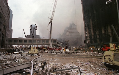 View of Ground Zero, New York City, N.Y., Sept. 14, 2001. On Sept. 11, 2001, four coordinated terrorist attacks were carried out in the United States using U.S. passenger airliners with two of the attacks on One and Two World Trade Centers. (U.S. Air National Guard photo by Tech. Sgt. Mark C. Olsen/Released)