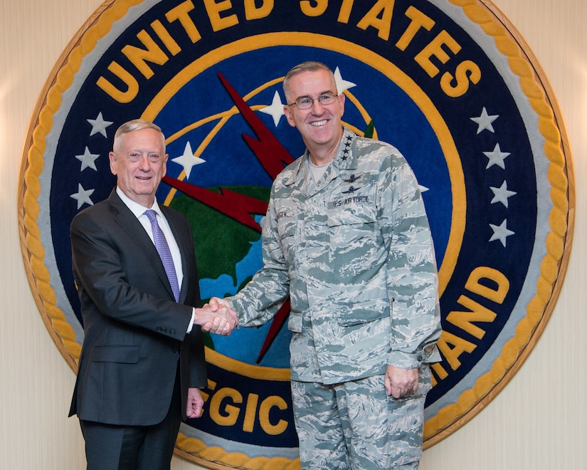 Secretary of defense meets with commander of U.S. Strategic Command.