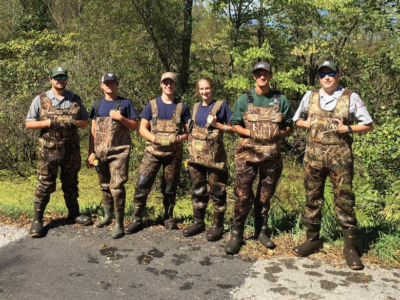 Students from Montgomery Center High School's Agriculture Academy pose with U.S. Army Corps of Engineers Nashville District park rangers at Cheatham Lake in Ashland City, Tenn., Sept. 29, 2017.  They installed wood duck boxes as part of National Public Lands Day activities. (USACE photo by Park Ranger Dean Austin)