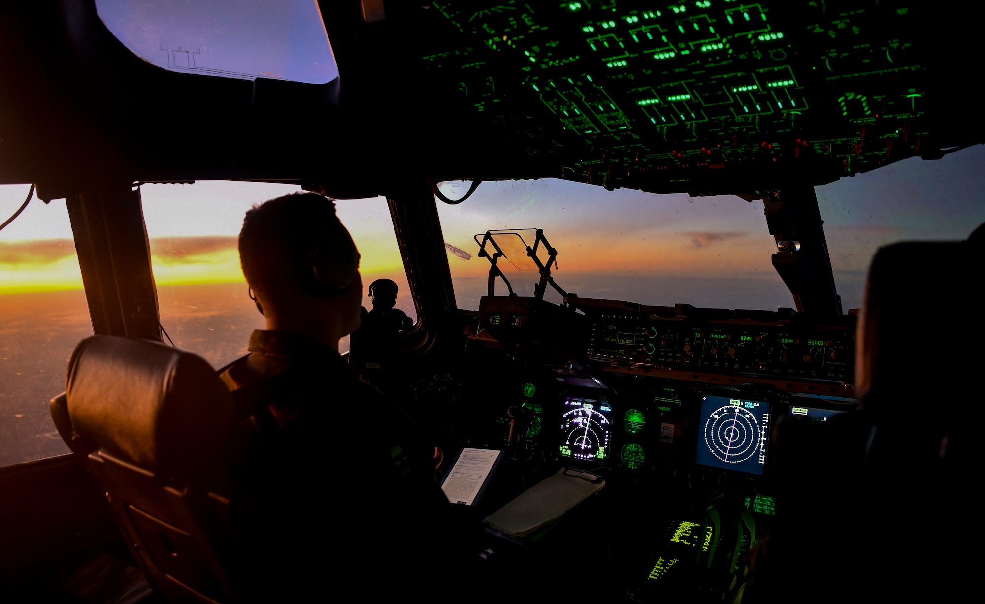Capt. Jared Powell, 15th Airlift Squadron C-17 Globemaster III aircraft commander, flies a C-17 to pick up aid cargo for a humanitarian mission to Puerto Rico, Sept. 28th, 2017.