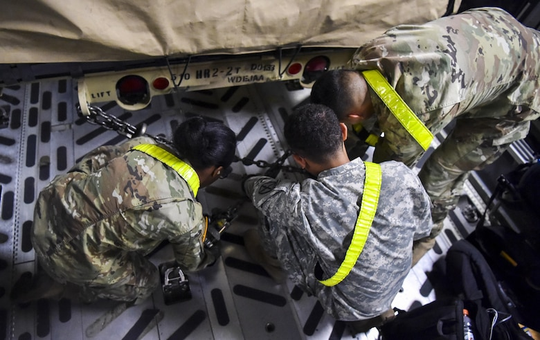 Soldiers from the 510th Human Resources Company secure a Humvee in the cargo bay of C-17 Globemaster III at Fort Drum, N.Y., Sept. 28th, 2017.