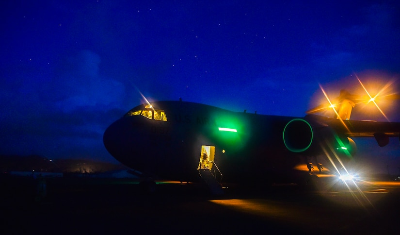 A C-17 Globemaster III is offloaded at Ceiba, Puerto Rico, Sept. 29th, 2017.