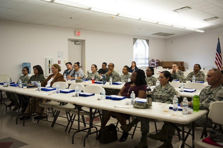 Members from all over Goodfellow attend a food demonstration hosted by the San Angelo Community Medical Center executive chef at the Taylor Chapel on Goodfellow Air Force Base, Texas, Sept. 26, 2017. The event stressed the ease of cooking healthily and managing time. (U.S. Air Force photo by Senior Airman Scott Jackson/Released)