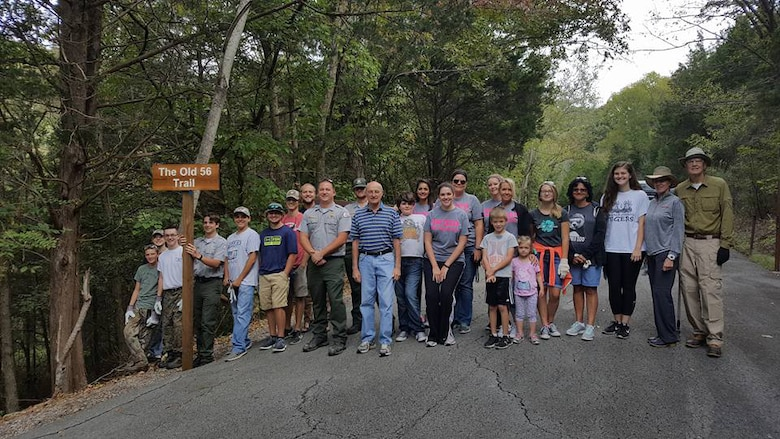 "More than 30 volunteers converted the former Hurricane Bridge Campground today into the new ""The Old 56 Trail"" at Center Hill Lake in support of National Public Lands Day Sept. 30, 2017.  The U.S. Army Corps of Engineers Nashville District coordinated with the DeKalb County Health Department on the development of the trail, and garnered additional support from Tennessee Tech University's Fisheries Society, DeKalb County High School, and other volunteers and partnerships. (USACE photo by Park Ranger Sarah Peace)"