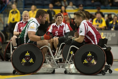 Army veteran Sgt. Noah Galloway, and dancer and actor Derek Hough, discuss having experienced an exhibition celebrity rugby match during the 2017 Invictus Games.