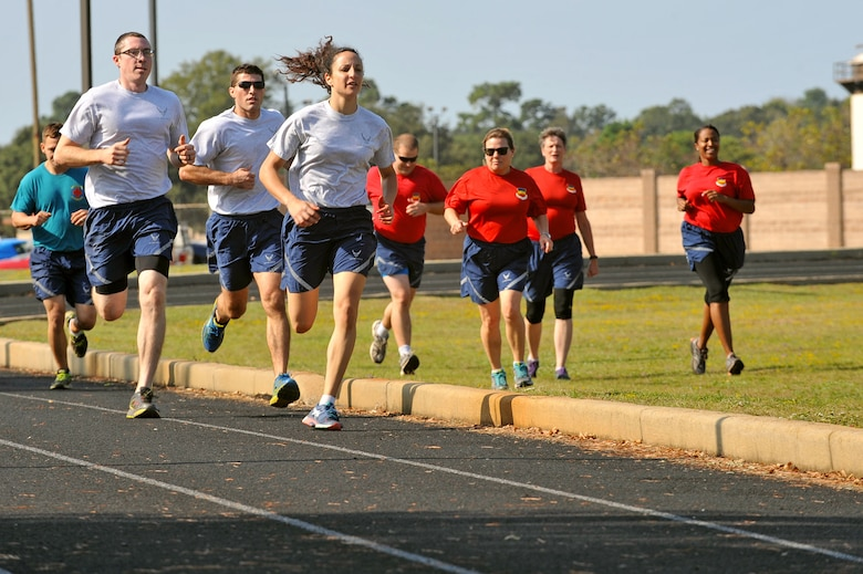 U.S Airmen assigned to the 20th Medical Group run during a Warrior Day commander's challenge at Shaw Air Force Base, S.C., Sept. 29, 2017.