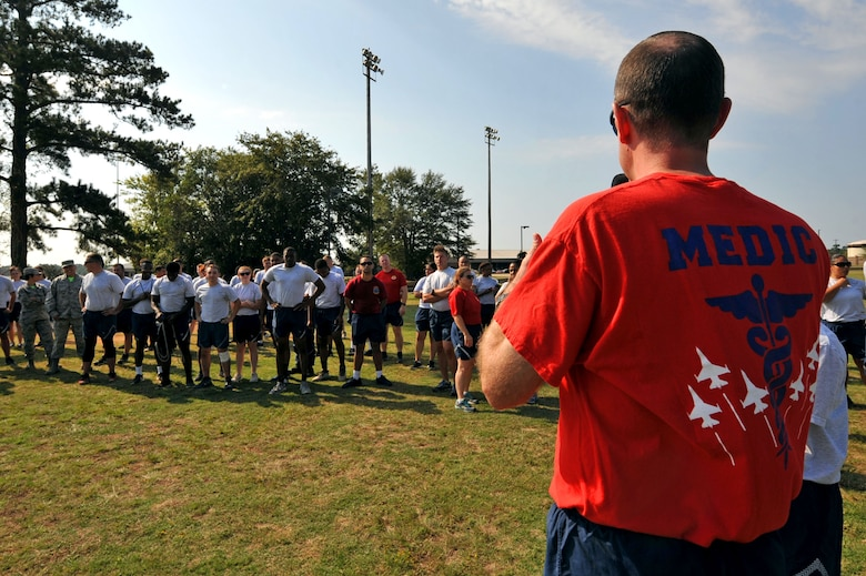 U.S. Air Force Col. Brian Wyrick, 20th Medical Group commander, speaks to attendees following the conclusion of Warrior Day events at Shaw Air Force Base, S.C., Sept. 29, 2017.