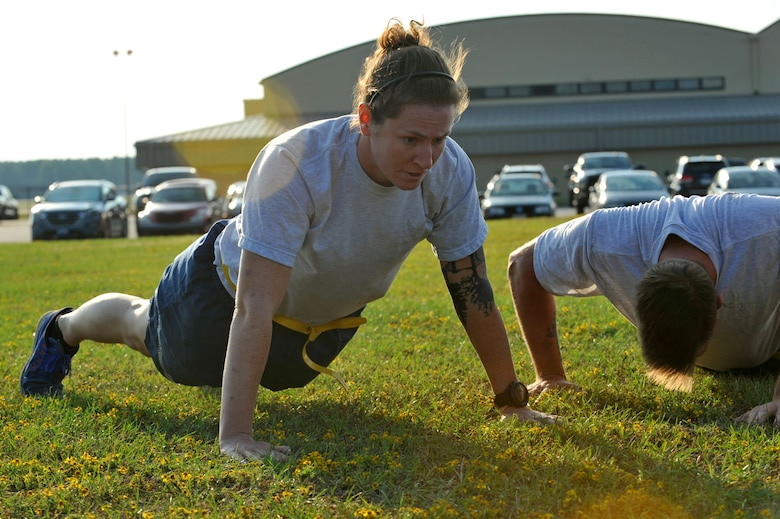 U.S. Air Force 1st Lt. Margaret Haley, 20th Civil Engineer Squadron explosive ordnance disposal flight commander, performs pushups during a Warrior Day challenge hosted by the 20th Medical Group at Shaw Air Force Base, S.C., Sept. 29, 2017.
