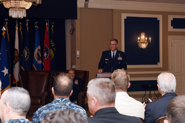 U.S. Air Force Gen. John Hyten, commander of U.S. Strategic Command (USSTRATCOM), presides over the Joint Functional Component Command for Global Strike (JFCC GS) inactivation ceremony at the Patriot Club on Offutt Air Force Base, Neb., Oct. 2, 2017.  USSTRATCOM inactivated JFCC GS as part of the command's restructure of its components to build a coherent and streamlined warfighting structure. The restructure will enhance integration throughout the deterrence enterprise and more closely match the organizational structure of other warfighting commands.