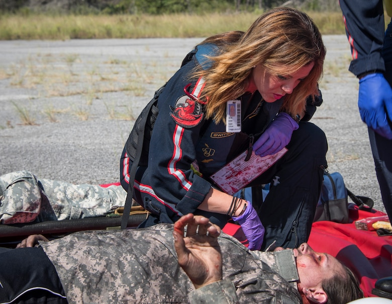 First responders from the 6th RTB, the 96th Civil Engineer Group Fire Department, 96th Security Forces Squadron, Okaloosa County Emergency Medical Services and Okaloosa Med Flight responded to a simulated mid-air helicopter collision and crash on the range. The realistic exercise with more than 20 injuries served to validate the 6 RTB's mass casualty exercise procedures and their ability to work as part of a unified command.