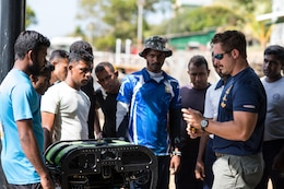 U.S. Navy Explosive Ordnance Disposal Technician 2nd Class Josh Wilborn, assigned to Explosive Ordnance Disposal Mobile Unit (EODMU) 5, demonstrates the use of a Seabotix remote operated vehicle (ROV) to Sri Lankan Navy personnel during Cooperation Afloat Readiness and Training (CARAT) Sri Lanka 2017 in Trincomalee, Sri Lanka, Oct. 2, 2017. CARAT is a series of annual maritime exercises between the U.S. Navy, U.S. Marine Corps and the armed forces of partner nations to include Bangladesh, Brunei, Indonesia, Malaysia, Sri Lanka, Singapore, Thailand and Timor-Leste.