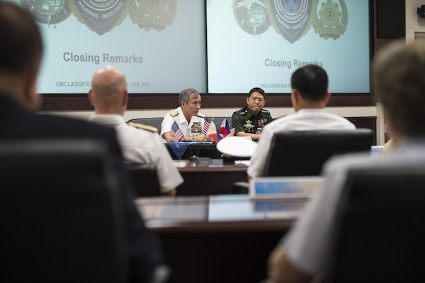CAMP H.M. SMITH, Hawaii (Sept. 28, 2018) — Adm. Harry Harris, Commander of U.S. Pacific Command (PACOM), and Gen. Eduardo Año, Chief of Staff for the Armed Forces of the Philippines, deliver their closing remarks during a conference for the Mutual Defense Board (MDB) and Security Engagement Board (SEB). During Año's two-day visit to PACOM, he and Harris discussed changes to the MDB and SEB. The MDB provides direct liaison and consultation on military matters of mutual concern to develop and improve both countries' common defense. The SEB provides the framework and mechanism for continuing liaison and consultation on non-traditional threats to security such as terrorism, transnational crimes, maritime security, and natural and man-made disasters. (U.S. Navy photo by Mass Communication Specialist 2nd Class James Mullen/Released)