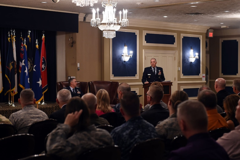U.S. Air Force Maj. Gen. Thomas A Bussiere, outgoing commander of Joint Functional Component Command for Global Strike (JFCC GS), speaks at the inactivation ceremony at the Patriot Club on Offutt Air Force Base, Neb., Oct. 2, 2017.  U.S. Strategic Command inactivated JFCC GS as part of the command's restructure of its components to build a coherent and streamlined warfighting structure. The restructure will enhance integration throughout the deterrence enterprise and more closely match the organizational structure of other warfighting commands. (U.S. Navy photo by Mass Communication Specialist 1st Class Julie Matyascik)