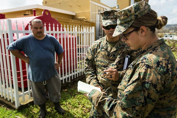 Navy Lt. Felicia A. Blais, right, and Marine Sgt. Gerardo E. Lopez-Ortiz, an air support operations operator both assigned to the 26th Marine Expeditionary Unit, reassess medical and operational needs at Hospital Oriente, Ceiba, Puerto Rico, Oct. 1, 2017. The 26th MEU is supporting the Federal Emergency Management Agency, the lead federal agency, in helping those affected by Hurricane Maria to minimize suffering. Marine Corps photo by Lance Cpl. Tojyea G. Matally