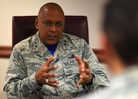 Maj. Gen. Anthony Cotton, 20th Air Force commander, speaks during an interview at Minot Air Force Base, N.D., Sept. 29, 2017. Cotton spoke with 91st Missile Wing Airmen and toured several facilities during his visit. (U.S. Air Force photo by Airman 1st Class Alyssa M. Akers)