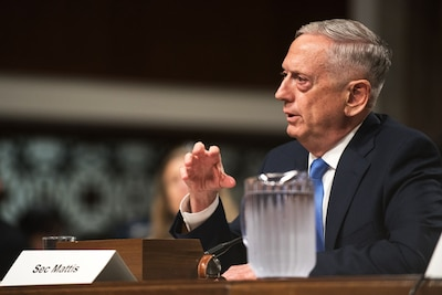 Defense Secretary Jim Mattis testifies on Capitol Hill.