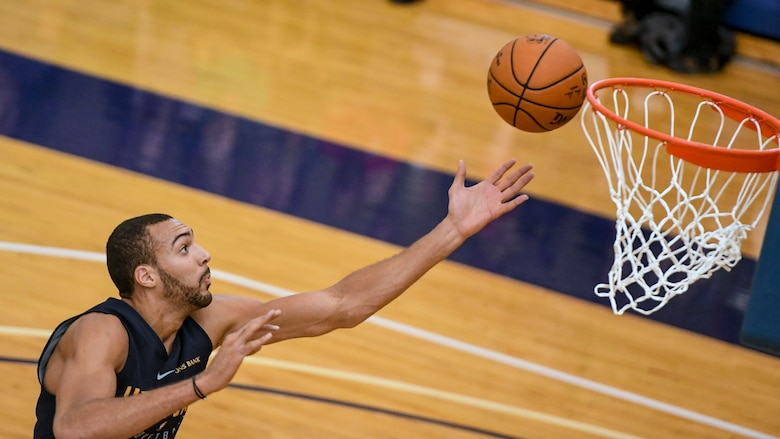 Utah Jazz players scrimmage at Warrior Fitness Center