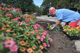 Cheatham County Master Gardener Intern Suzanne Hale plants pansies in the pollinator garden Sept. 30, 2017 at Cheatham Lake in Ashland City, Tenn.  Volunteer gardeners are needed to join the team responsible for developing, maintaining and improving the gardens, working toward certification as a Monarch Waystation at the U.S. Army Corps of Engineers Nashville District project. (USACE photo by Lee Roberts)