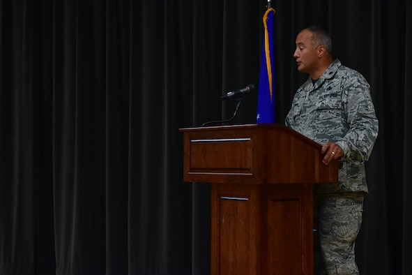 Lt. Col. Mark Chapa, 19th Maintenance Squadron commander, speaks on the impact of the Hispanic community throughout history at the Hispanic Heritage Month Info Fair Sept. 29, 2017, at Walter's Community Support Center on Little Rock Air Force Base, Ark. The event educated Team Little Rock members on nationally recognized Hispanic countries. (U.S. Air Force photo by Airman Rhett Isbell)