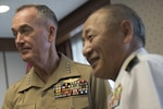 General Dunford meets with Japan Self-Defense Force Admiral Katsutoshi Kawano, Chief of Staff, Joint Staff, at Ministry of Defense in Tokyo