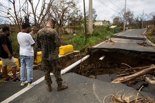 Marines continue to deliver supplies to the distribution center and assess the road damage in Ceiba, Puerto Rico, Oct. 2, 2017. The Marines are supporting the Federal Emergency Management Agency, the lead federal agency, in helping those affected by Hurricane Maria. Marine Corps photo by Cpl. Juan A. Soto-Delgado