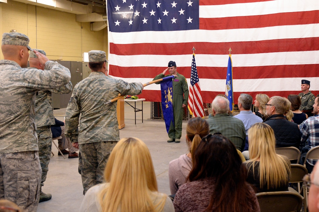 """Col. James """"Flash"""" Frickel takes command of the Utah Test and Training Range during an assumption of command ceremony Oct. 2 at Hill Air Force Base."""
