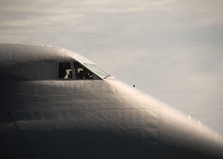 Pilots on the flight deck of a C-5M Super Galaxy from Dover Air Force Base, Del. conduct pre-flight checks before taking off from Dobbins Air Reserve Base, Ga. Oct. 2, 2017. The plane took vital communication equipment as well as AT&T Network Disaster Recovery Team members to provide communication support to Puerto Rico in the wake of Hurricane Maria's destruction. (U.S. Air Force photo/Staff Sgt. Andrew Park)
