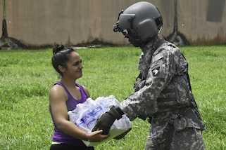 Soldiers deliver food and water to residents affected by Hurricane Maria in San Juan and Orocovis, Puerto Rico, Oct. 3, 2017. Army photo by Sgt. Marcus Floyd