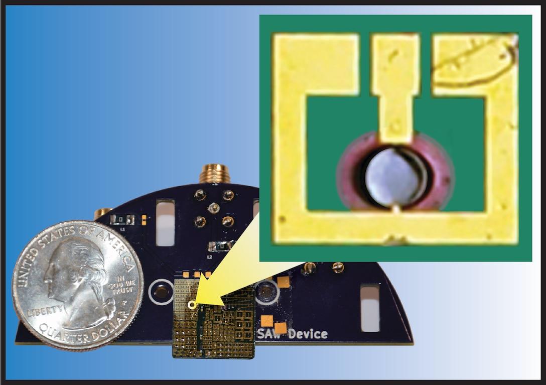 Photo comparison showing ultra-compact AFRL antenna, smaller than a flea