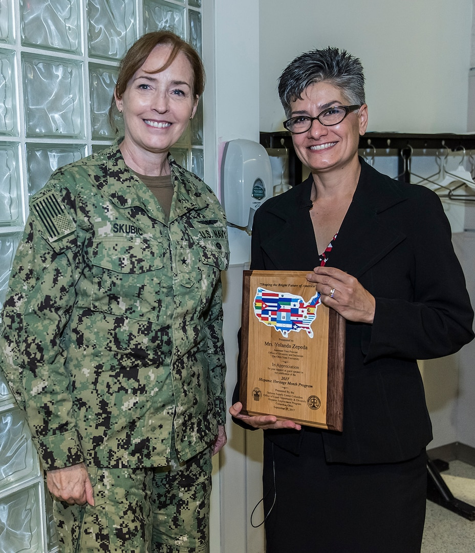 DLA Land and Maritime Commander poses with guest speaker for Hispanic Heritage Month.