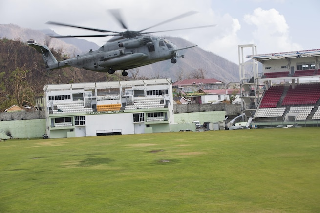 A U.S. Marine CH-53E Super Stallion prepares to land in Dominica.