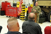 Major Gen. Patrick Reinert, commanding general of the 88th Regional Support Command, speaks about the accomplishments of Area Maintenance Support Activity 131 in Jeffersonville, Indiana, honoring the shop for winning the Level I, Company TDA category of the Fiscal Year 2016 Supply Excellence Awards (SEA) for the U.S. Army Reserve.