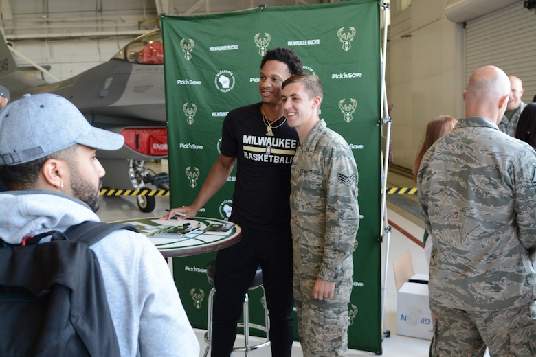 Airmen of the 115th Fighter Wing and their families were able to take a break together, at the end of the regularly scheduled drill day, Sept. 9 at Truax Field, Madison, Wisconsin to enjoy a visit from Milwaukee Bucks' Rashad Vaughn and the Rim Rockers and Hoop Troop, along with the Milwaukee Bucks Dancers and Bango, the Bucks mascot. (U.S. Air National Guard photo contributed)