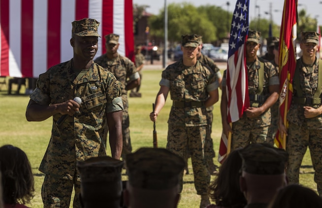 U.S. Marine Corps Sgt. Maj. Delvin R. Smythe, the Marine Corps Air Station (MCAS) Yuma, Ariz., sergeant major, gives his final remarks as the station sergeant major during his retirement ceremony, June 30, 2017. (U.S. Marine Corps photo taken by Lance Cpl. Christian Cachola)