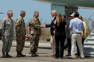 President Donald J. Trump and First Lady Melania Trump visit Carolina, Puerto Rico following Hurricane Maria to meet with residents and local leaders to discuss storm response efforts, Oct. 3, 2017. Photos by multiple military photographers