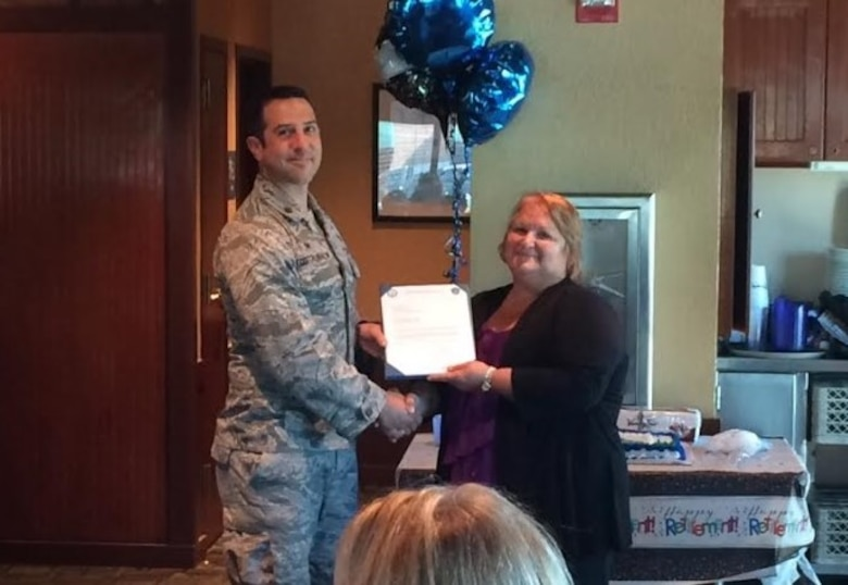 Alice Hoff celebrates her last day and retirement from the 375th Logistics Readiness Squadron.