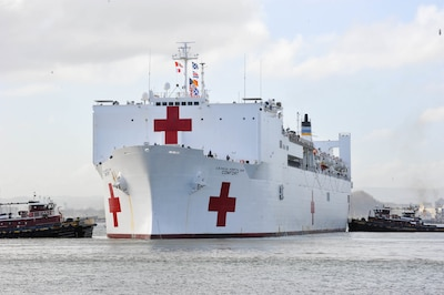 The Military Sealift Command hospital ship USNS Comfort arrives in San Juan, Puerto Rico.