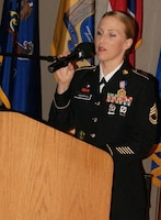 Sgt. 1st Class Alicia Hofmann shares her thoughts about her actions that saved a man from a burning car, earning her the coveted Soldier's Medal. Hofmann is assigned to the 8th Regiment, 100th Health Services Battalion, 4th Brigade, 100th Training Division, 80th Training Command. She received the Soldier's Medal at an award ceremony held at Fort Knox, Kentucky, Sept. 29, 2017.