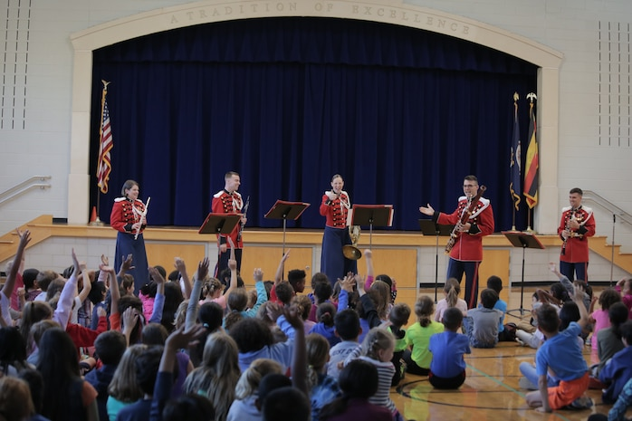 On Oct. 4, 2017 a woodwind quintet from the U.S. Marine Band performed a Music in the Schools program at Arlington Traditional School in Arlington, Va. (U.S. Marine Corps photo by Master Sgt. Kristin duBois/released)