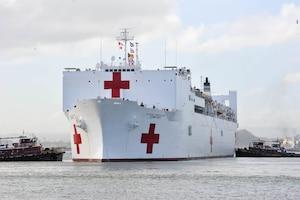 The Military Sealift Command hospital ship USNS Comfort arrives in San Juan, Puerto Rico.