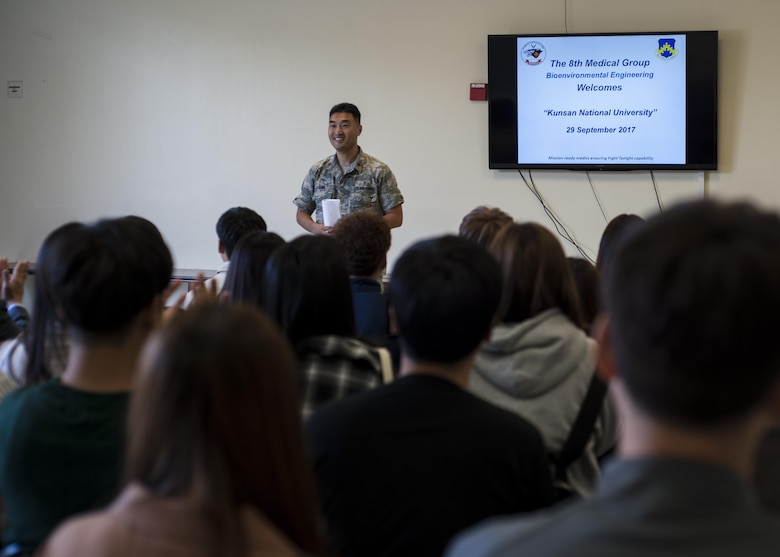 U.S. Air Force Maj. Ryan Jung, 8th Medical Group Bioenvironmental Engineering flight commander, speaks to environmental engineering students of Kunsan National University during a tour at Kunsan Air Base, Republic of Korea, Sept. 29, 2017. The visit included an introduction about the 8th MDG/BIO, a hands-on learning experience and a tour of the water treatment plant located on the installation. (U.S. Air Force photo by Staff Sgt. Victoria H. Taylor)