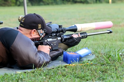 Soldier takes aim during marksmanship competition.