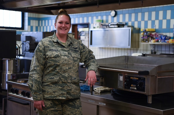 U.S. Staff Sgt. Jodi Danielson, 76th Airlift Squadron C-40B Clipper instructor flight attendant, stands in a flight kitchen on Ramstein Air Base, Germany, Sept. 28, 2017. Danielson was recognized by the 86th Force Support Squadron Continuous Process Improvement Office and Innovation program for leading the development of a government travel card-like system for flight attendants. (U.S. Air Force photo by Airman 1st Class Devin M. Rumbaugh)
