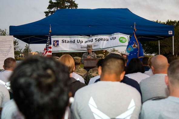 1st Lt. Kaitlin Toner, 23d Wing Public Affairs officer, speaks during a Violence Prevention Awareness event, Oct. 4, 2017, at Moody Air Force Base, Ga. Moody leadership proclaimed October as Violence Prevention Awareness Month in order to recognize and educate Airmen and families about suicide prevention, drug abuse, stalking awareness and domestic violence prevention. (U.S. Air Force photo by Airman 1st Class Erick Requadt)
