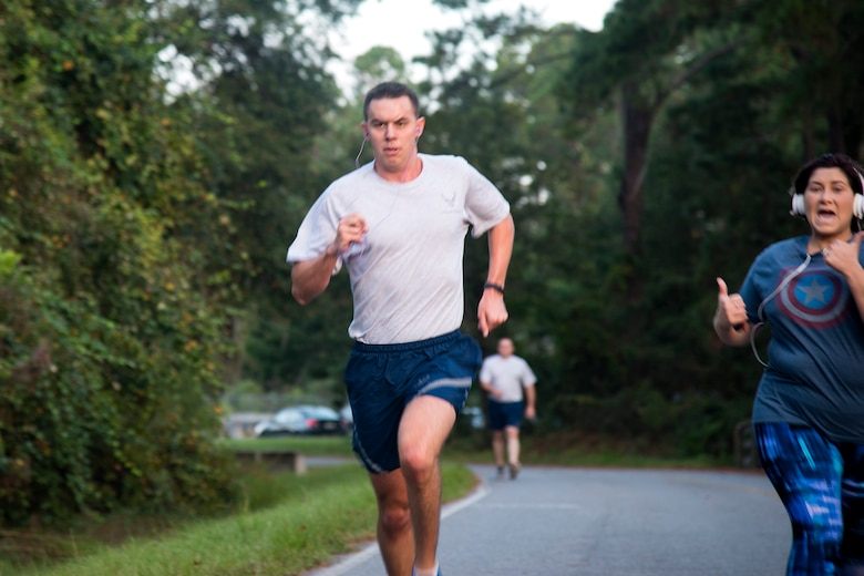2nd Lt. Robert Hirschman, 820th Base Defense Group intelligence analyst, runs during a Violence Prevention Awareness 5K, Oct. 4, 2017, at Moody Air Force Base, Ga. Moody leadership proclaimed October as Violence Prevention Awareness Month in order to recognize and educate Airmen and families about suicide prevention, drug abuse, stalking awareness and domestic violence prevention. (U.S. Air Force photo by Airman 1st Class Erick Requadt)