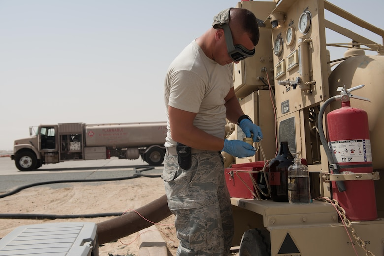 o ensure that all the installation's fuel quality is kept up to industry standards, Staff Sgt. Boyle conducts daily quality assurance tests for water, solids and additives in the fuel.