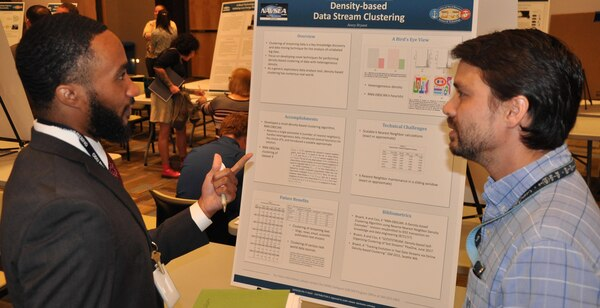 "IMAGE: DAHLGREN, Va. (Sept. 29) - NSWC Dahlgren Division lead scientist Avory Bryant and mechanical engineer Brian Johnson shared the ""Density-based Data Stream Clustering"" capability at the In-House Laboratory Independent Research and Independent Applied Research review. Clustering of streaming data is a key knowledge discovery and data mining technique for the analysis of unlabeled big data."