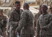 U.S. Marine Lt. Gen. William D. Beydler, commanding general of Marine Forces Central Command (MARCENT), greets with Marines of Marine Wing Support Squadron (MWSS), All-Weather Fighter Attack Squadron (VMFA) 224 and Deployed Joint Command and Control (DJC2). Lt. Gen. Beydler and Sgt. Maj. William T. Thurber, MARCENT Sergeant Major, visited the Marines to address evolving topics in the future of the Marine Corps.